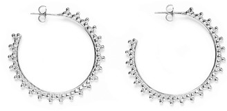 Agnes de Verneuil Three Pearls Small Hoops Earrings - Silver