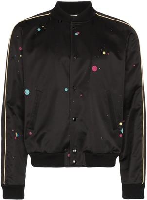 Saint Laurent Galaxy logo-printed bomber jacket