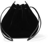 Vanessa Seward Caprice Patent Leather-trimmed Velvet Shoulder Bag - Black