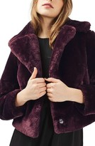 Topshop Women's Crop Faux Fur Coat