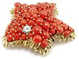 Tiffany & Co. 18K Yellow Gold Coral Diamond Starfish Brooch