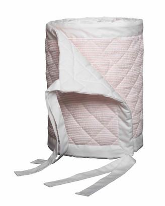 Bovi Fine Linens Baby Seersucker Crib Bumper, White/Pink