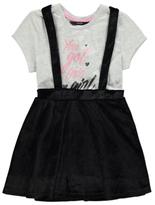 George Slogan T-Shirt and Velour Pinafore Dress Set