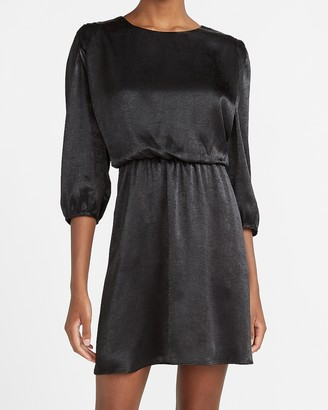Express Satin Crew Neck Cinched Waist Dress