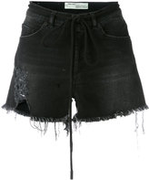Off-White frayed denim shorts - women - Cotton/Polyester/Spandex/Elastane - 27