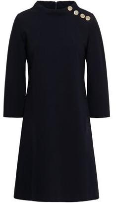 Goat Icon Button-embellished Ponte Mini Dress