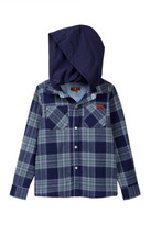7 For All Mankind Plaid Button Up Flannel Hoodie (Big Boys)