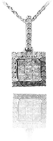 Ice 1/2 CT White Diamond Polished Sterling Silver Dangling Square Halo Pendant Necklace