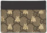 Gucci Beige GG Supreme Bees Card Holder