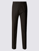 M&S Collection Brown Regular Fit Trousers
