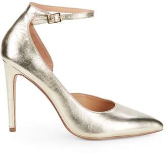 Halston Margo Leather Ankle Strap Pumps