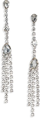 CRISTABELLE Delicate Crystal Linear Drop Earrings