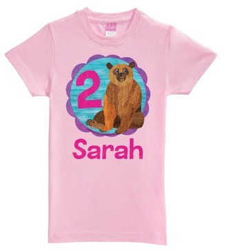 Brown Bear Birthday Girl Age Pink Fitted Youth Tee