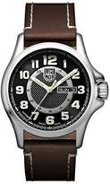 Luminox Field Automatic Day Date Men's Automatic watch with Black dial featuring LLT light Technology 43 millimeters Stainless Steel case and Brown Leather Strap XL.1801.NV