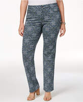 Charter Club Plus Size Printed Lexington Straight-Leg Jeans, Only at Macy's