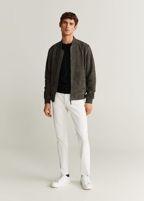 MANGO MAN - Contrasting finish suede bomber dark heather grey - XL - Men