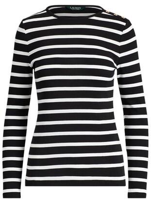 Lauren Ralph Lauren Ralph Lauren Striped Button-Shoulder Top