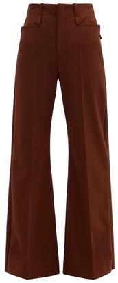 Chloé Flared-leg Wool-blend Twill Trousers - Burgundy