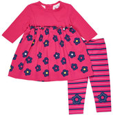 Florence Eiseman Long-Sleeve Floral Top w/ Striped Leggings, Size 3-24 Months