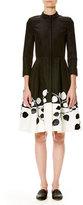 Carolina Herrera 3/4-Sleeve Two-Tone Shirtdress, Black/White