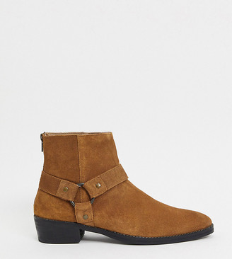 ASOS DESIGN Wide Fit stacked heel western chelsea boots in tan suede with buckle detail