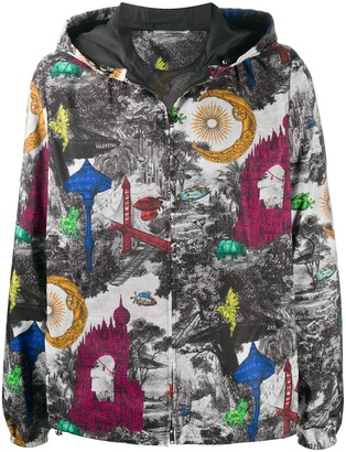 Valentino City Print Hooded Jacket