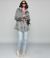 Reiss LEXINGTON FAUX FUR COAT Grey