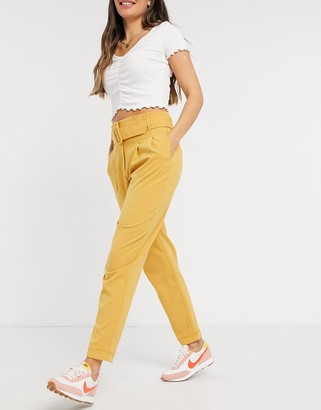 Only Sica high waist belted paperbag trousers in mustard yellow
