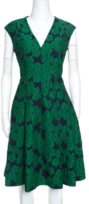 Carolina Herrera Green Brocade Fit and Flare Sleeveless Dress L