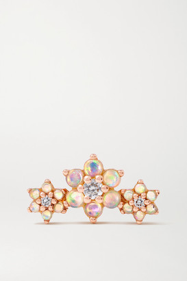 Maria Tash Flower Garland 18-karat Rose Gold, Opal And Diamond Earring