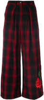 Marcelo Burlon County of Milan plaid culottes with rose embroidery