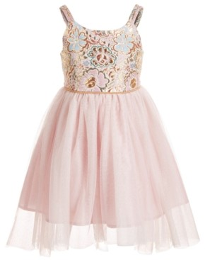 Pink & Violet Little Girls Brocade & Mesh Dress