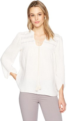 Michael Stars Women's Double Gauze 3/4 Sleeve Peasant top