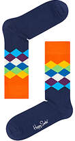 Happy Socks Faded Diamond Socks, One Size, Black/orange