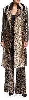 J. Mendel Leopard Jacquard Coat w/Fur Collar
