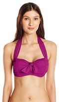 Jantzen Women's Solid Tie Front Halter Bra Bikini Top