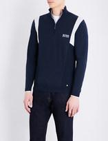 HUGO BOSS Contrast-knit cotton-blend sweatshirt