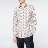 Paul Smith Men's Tailored-Fit Sky Blue 'Vine Floral' Print Cotton Shirt