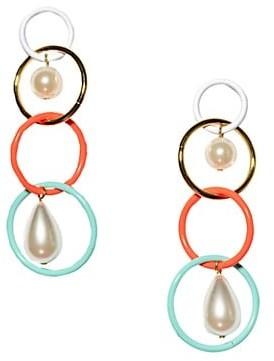 Lele Sadoughi Multicolor Teardrop & Faux Pearl Linear Earrings