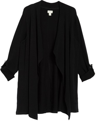 Caslon Roll Tab Open Front Cardigan (Plus Size)