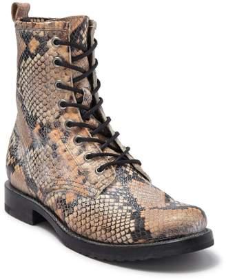 Frye Veronica Snakeskin Embossed Leather Combat Boot