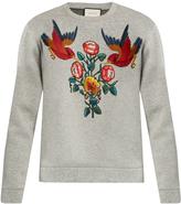 Gucci Bird and flower-appliqué cotton sweatshirt
