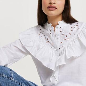 River Island Womens White long sleeve broderie frill shirt