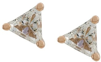 Delfina Delettrez 18kt champagne gold Dots Solitaire trillion diamond stud earrings