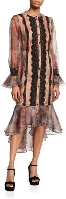 Shani Floral Print Organza Flounce-Hem Shirtdress