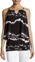 Neiman Marcus Layered A-Line Tank W/Metal Detail, Black Pattern