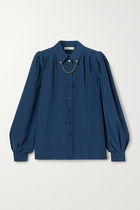 Givenchy Chain-embellished Silk Crepe De Chine Shirt - Storm blue