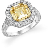 Judith Ripka Sterling Silver Asscher Canary Crystal Ring with White Sapphire