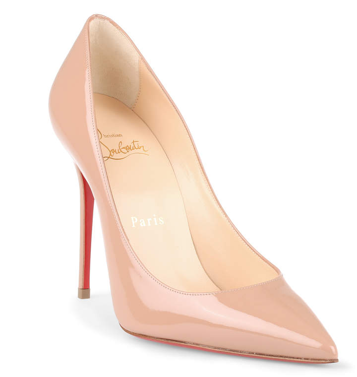 Christian Louboutin Decollete 554 100 beige patent leather pump