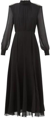 Saloni Jacqui Crystal-embellished Silk-georgette Dress - Womens - Black